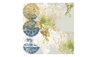 State of Flow Lace-Rose Wallpaper, Blue, Gold and Gray
