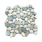 """Pebble Stone Tile Sheets, Green and White, 12""""x12"""""""