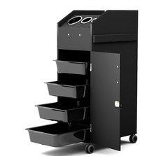 Costway Black Beauty Salon Spa Rolling 4 Storage Trays &Locking Door Equipment
