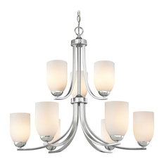 Contemporary Chrome Chandelier with Opal White Glass and Two Tiers