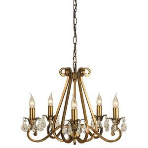 Oksana 5-Light Pendant, 40 W, Antique Brass
