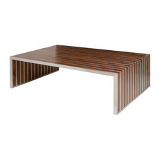 Attirant Holden Stainless Steel Walnut Wood Slatted Modern Coffee Table   Coffee  Tables