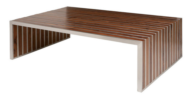 Holden Stainless Steel Walnut Wood Slatted Modern Coffee Table