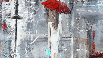 """""""A Trip to Tiffanys"""" Abstract, Painting, Girl w Red Umbrella, City, Urban, Palet"""
