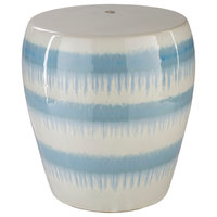 Transitional Ceramic Light Blue and White Accent Stool