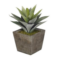 Artificial Frosted Green Succulent in Grey-Washed Wood Cube