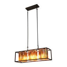 3-Light Kitchen Island Rectangle Pendant Light Crystal Chandelier
