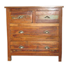 Mogul Interior - Indian Shutter Sideboard Rustic Reclaimed Wood Chest Dresser with Drawers - Coffee And Accent Tables