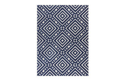 Dorado Metier Blue Modern Geometric Trellis Indoor Outdoor Area Rug DO-64