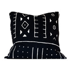 """Spiona African Mud Cloth Pillow, 18""""x18"""", Envelope Back, Cover Only"""