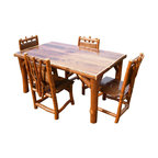 Rustic Rosewood Slab With Live Edge Indoor Dining Set
