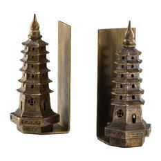 Cyan Design Pagoda Bookends, Gold Leaf (Set of 2)