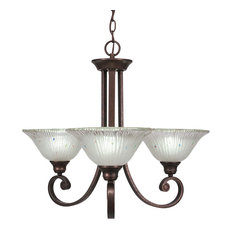 "Curl 3-Light Chandelier, Bronze Finish, 10"" Frosted Crystal Glass"