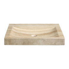 "30"" Stone Vanity Top and Integrated Bowl, Beige Travertine   ."