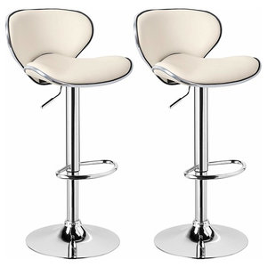 Luxury 2-Bar Stool Set Upholstered, Faux Leather, Footrest and Gas Lift, Cream