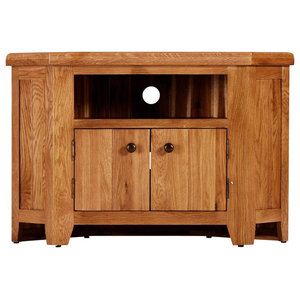 Traditional Oak Corner Television Stand With Cupboard