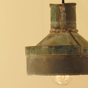 Rustic Lighting with Vintage Rustic Copper Funnel Shade by lucentlampworks