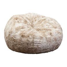 GDFStudio   Rosella 3 Foot Fur Bean Bag, Beige/White Faux Fur   Bean