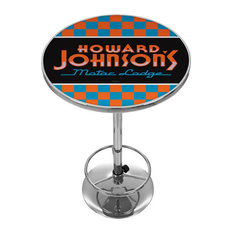 Howard Johnson Checkered Chrome Pub Table   Indoor Pub And Bistro Tables