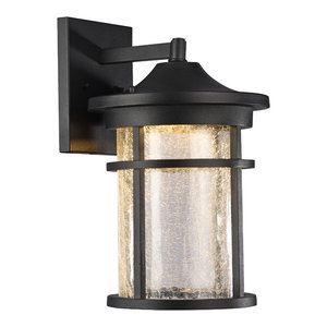 """Frontier Transitional LED Textured Outdoor Wall Sconce, Black, 15"""" Height"""