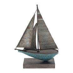 "Sagebrook Home Teal/Galvanized Metal Sailboat, 11.25"""