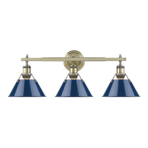 Orwell 3-Light Bath Vanity, Aged Brass With Navy Blue Shade