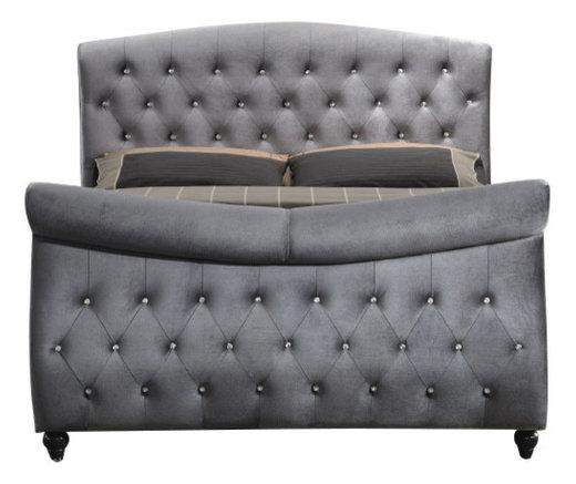 Florin Velvet Sleigh Bed Gray Queen