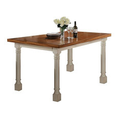 Acme Wilton Counter Height Table Distressed Oak And Antique Cream