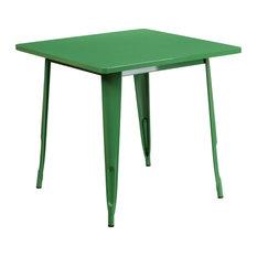 31.5'' Square Metal Indoor Table Green 31.50-inchx31.50-inchx29.50-inch