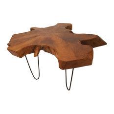 "Large Natural Live Edge Teak Wood Coffee Table With Black Metal Legs, 28""x19"""