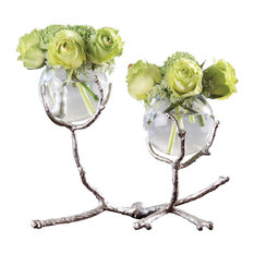 Twig Nickel and Glass Two Vase Holder