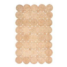 Hand-Woven Solid Jute Decorative Circles Jute Area Rug, Natural, 3'x5'
