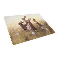 Rabbits In The Dandelions Glass Cutting Board, Large