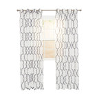 Elisa Emboidered Curtain Panel, Charcoal, 84""