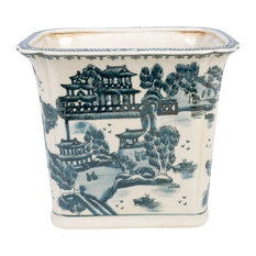 Blue and White Blue Willow Square Porcelain Rectangular Pot