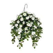 Artificial White Petunia in Water Hyacinth Hanging Basket, Natural Water Hyacint