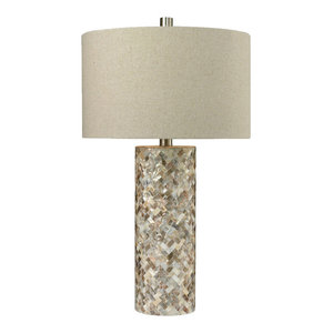 "TRUMP HOME 29"" Herringbone Mother of Pearl Table Lamp"