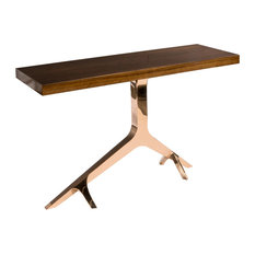 Rose Gold Branch Console Table With Brown Top