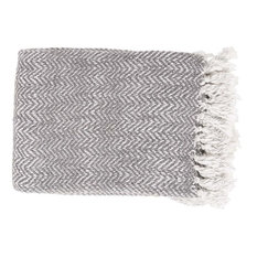"Surya Trina 4'2""x5' Throw Blanket, Slate"