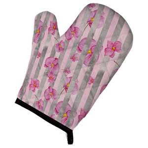 Watercolor Pink Flowers Grey Stripes Oven Mitt