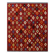 "ALRUG Handmade Red/Maroon Oriental  Tribal Kilim,  8' 6"" x 10' 2"""