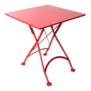 """French Cafe Bistro Folding Table, Flame Red Frame, 24""""x24"""" Steel Metal Top"""