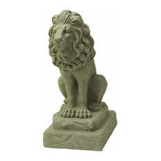 "Guardian Lion Statue Natural Appearance Made of Resin Lightweight, 28"" Sandstone"