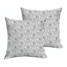 Soren Gray/White Geometric Outdoor Square Pillow, Set of 2, Knife Edge, 22x22