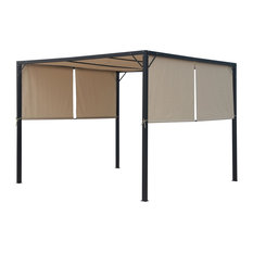 GDF Studio Wendy Outdoor Steel Framed 10' by 10' Gazebo, Beige