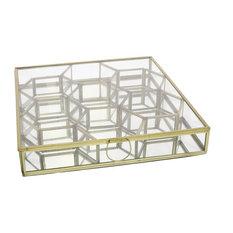 Monroe Honeycomb Divided Box, Large, Brass