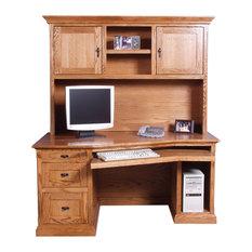 Mission Angled Desk and Hutch, Natural Alder, 60w