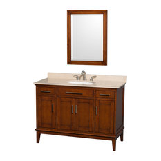 """Hatton 48"""" Light Chestnut Single Vanity With Ivory Marble Top and Oval Sink"""