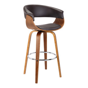"Julyssa 30"" Mid-Century Swivel Barstool, Brown Faux Leather With Walnut Wood"