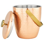 Old Dutch International - Aura Hammered Copper Double Walled Ice Bucket, 3.5 Qt. - Introducing our new Aura Collection. This Double Walled Ice Bucket is perfect for storing ice for your favorite drinks, and will be a focal point in your bar or at parties. Designed with durability and elegance in mind, this beautiful Ice Bucket is constructed of heavy-gauge stainless steel with a Copper finish. The Aura Double Walled Ice Bucket will be a staple of your bar for years to come.